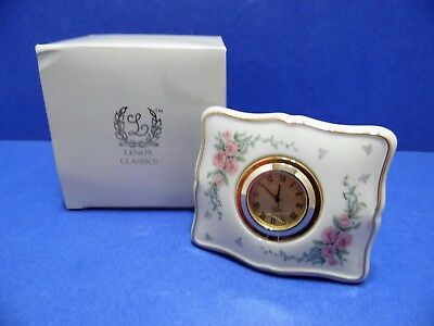 Lenox Quartz Clock Petite Rose In Box Gold Accent Battery Operated Tabletop
