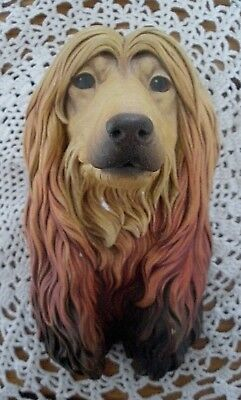 Vintage Bossons Chalkware Afghan Hound Dog Character Head Wall Hanging