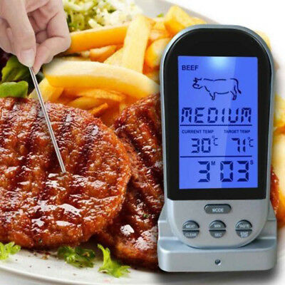 Digital LCD BBQ Grillthermometer Grill Bratenthermometer Alarm Thermometer Heiß