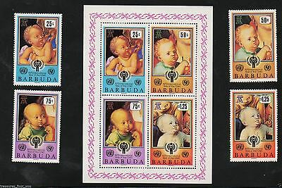 1979 Barbuda IYC UN Year of the Child Stamps + Mini Sheet Durer Paintings