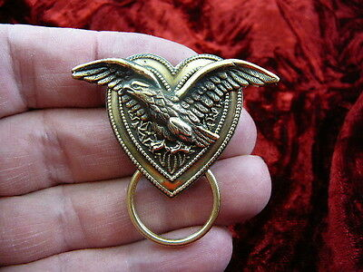(E-591) Eagle wings spread brass Eyeglass pin pendant ID badge holder brooch