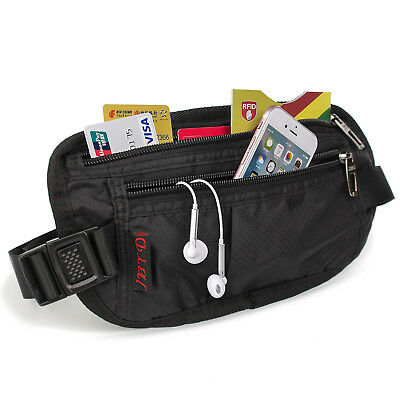 Travel Money Belt Security Pouch For Cash Passport Bum Bag Card Sleeves RFID US