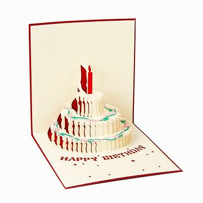 Cute 3D  Up Birthday Cake Greeting Card Handmade Happy Birthday Cards-Gift