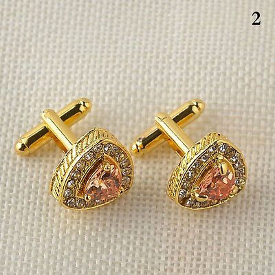 Silver /Gold Plated Mens Crystal Wedding Party Gift Shirt Cuff Links-Cufflinks
