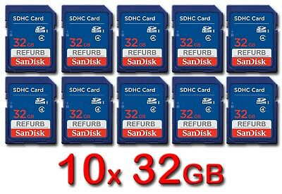 LOT 10x SanDisk SD 32GB Class 4 SDHC Card SDSDB-032G-B35 memory card 32 GB 10 x