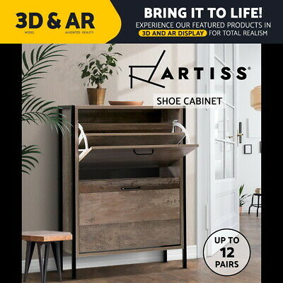 Artiss Shoe Cabinet Shoes Storage Rack Wooden Organiser Storage Vintage 12 Pairs