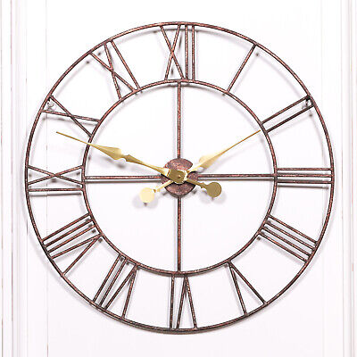 Rustic Large 76CM Vintage Skeleton Metal Wall Clock with Gold Hands