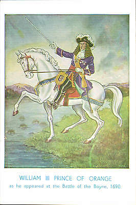 Political Irish. King William III at the Battle of the Boyne. Card by W Johnston
