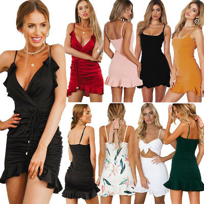 Donna Estivo Cocktail Party Pizzo Senza Maniche Bardot Mini Abito Corto Vestito