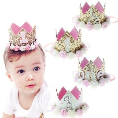 Baby Girl 1st Birthday Party Hat Flower Princess Crown Decor Hair Accessories UK