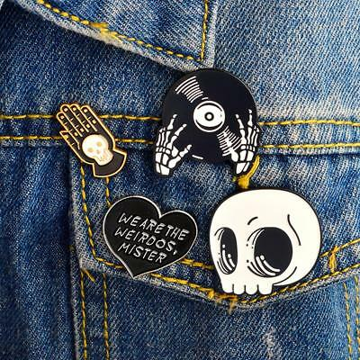 Vogue Punk Skeleton Head and Hands Enamel Pins Brooches Clothing Accessories