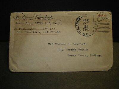 APO 445 YOKOHAMA, JAPAN 1945 WWII Army Cover 387th Infantry Soldier's Mail