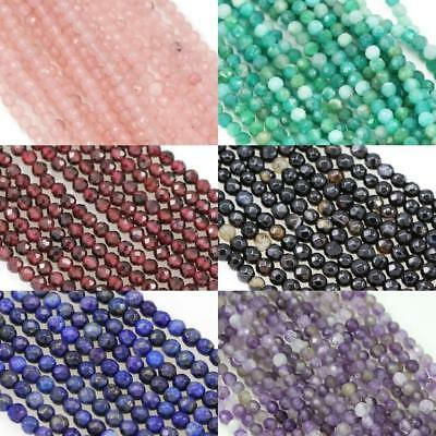 Size 3mm Faceted Round Semi-precious Gemstone Spacer Beads for Jewellery Making