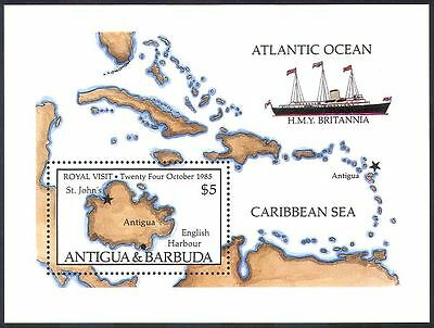 Antigua & Barbuda 1985 Royal Visit/Britannia/Ship/Transport/Map 1v m/s (n18627)
