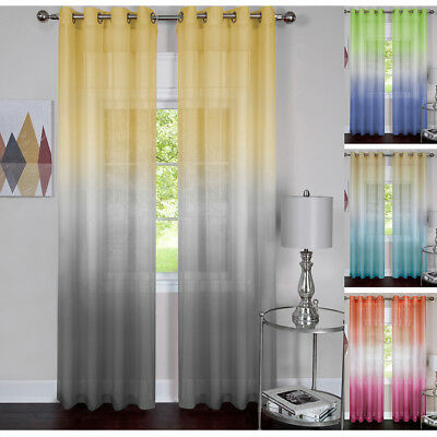 Window 2-Pack Panel Curtain Rainbow Multi-Color Semi-Sheer Light Filter Panel