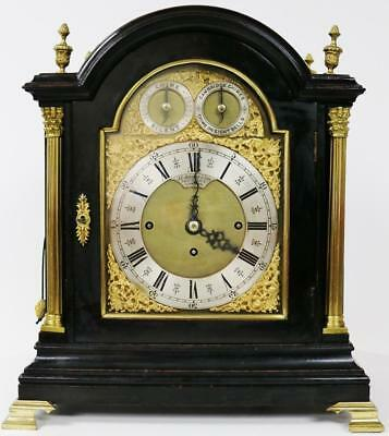 Antique English 8 Day Ebony & Bronze Triple Fusee Musical 8 Bell Bracket Clock