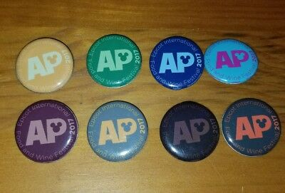 Set of 8 Disney Epcot Food & Wine Festival 2017 Annual Passholder AP Buttons