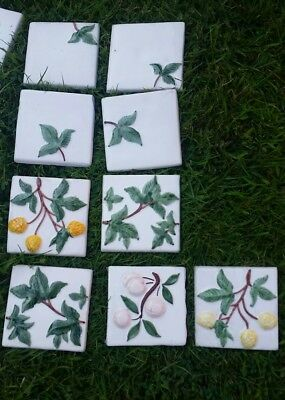 Antique reclaimed 3D handmade hand painted tiles fruit