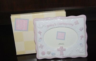 Russ Baby Girl Christening Ceramic Photo Picture Frame Oval 4X6 New In Box