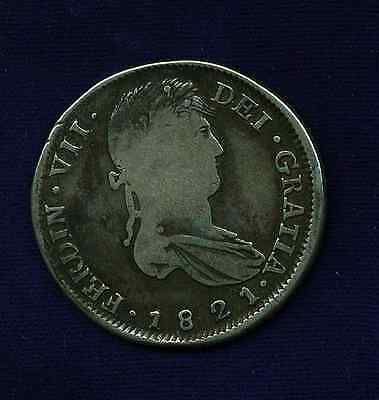 MEXICO WAR OF INDEPENDENCE ZACATECAS 1821-ZsRG 8 REALES SILVER COIN, F/VF!