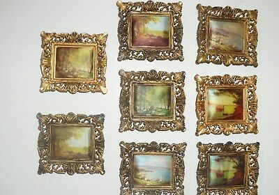 Vintage lot of 8 Small Ornate Framed Silk Chinese Art Gold Plastic
