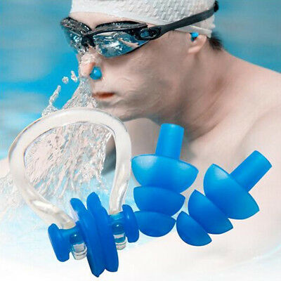 1Set Swimming Nose Clip Ear Plugs Silicone For Kids & Adults Accessories 8Colors