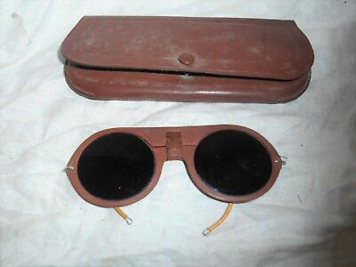 Vintage Industrial OXWELD Safety Welding Goggles Glasses W/Leather Case. L@@K!