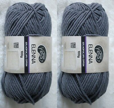 NEW 2 x 100g Balls MODA Vera ELENNA Dark Grey 50% Acrylic 50% Cotton Knitting