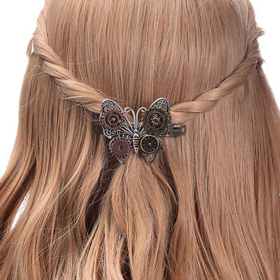 Antique/Retro/Vintage Steampunk Gears Butterfly Hair Clip Headwear Hairpin Littl