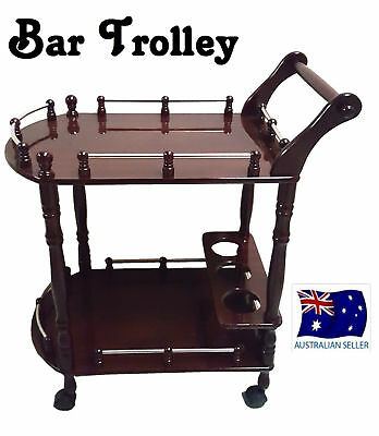 Wooden Drinks Trolley Bar Cart Lacquer Finish Wine Whiskey Beer Storage HW336