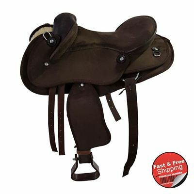 Kids / Pony -Brown-Synthetic Suede-Half Breed-Swinging Fender Saddle- size 13 &1