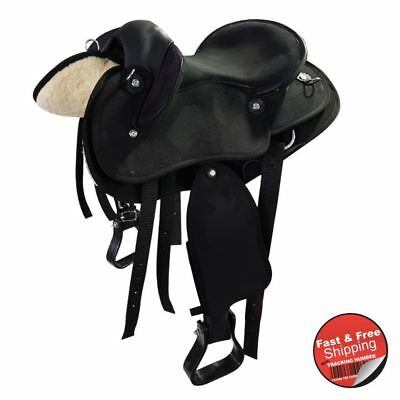 Kids/ Pony- Black-Synthetic Suede-Half Breed-Swinging Fender Saddle- size 13 &14