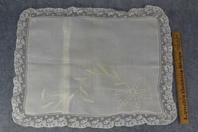 antique hand made white lace pillow case 13 x 17 in. original 1920