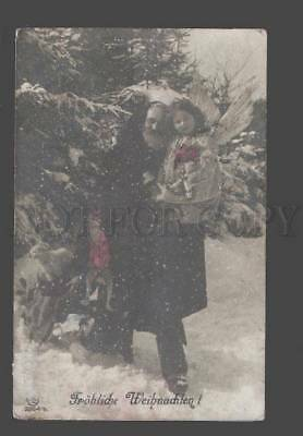 086581 SANTA CLAUS & Girl ANGEL in Forest Vintage PHOTO tinted