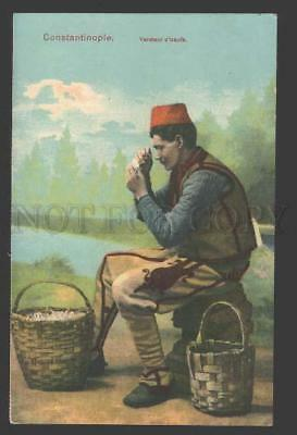 114983 TURKEY Constantinople EGG SALESMAN Vintage postcard