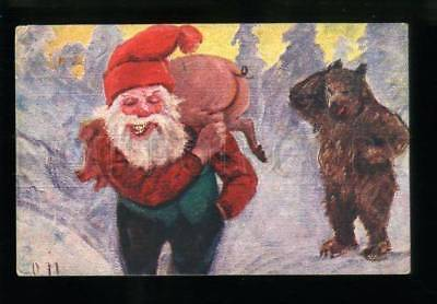 134368 Funny GNOME w/ Pink PIG & Huge BEAR Vintage X-MAS PC