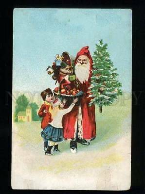 134846 Red SANTA CLAUS w/ GIFTS & Kids Vintage LITHO PC