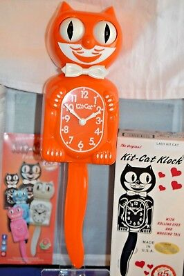 AUTHENTIC FULL SIZE PUMPKIN Kit Cat Clock Made USA ship Priority in 48 Hrs.