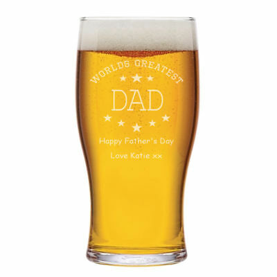 Personalised Worlds Greatest Dad One Pint Beer Glass Engraved Father's Day Gift