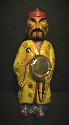 Antique Vintage Painted Clear Glass Chinese Man Figure Bottles Paper Label Vgc