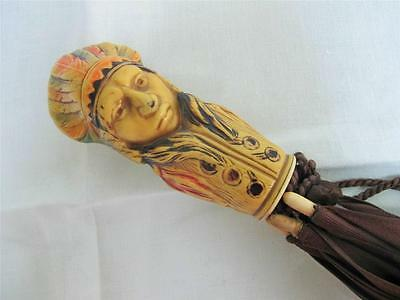 Vintage 1920's Figural Parasol - Celluloid Handled - Native American Chief