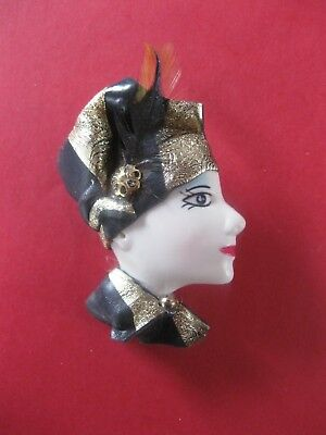 Vintage Lady's Head With Hat Fashion  Brooch