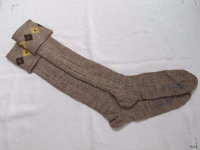 VINTAGE 1940's WW2 ERA CC41 UTILITY MARK BROWN BOY'S SCHOOL EVACUEE SOCKS - 9½""