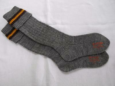 VINTAGE 1940's WW2 ERA GREY & YELLOW BOY'S SCHOOL EVACUEE SOCKS - SIZE 7½""