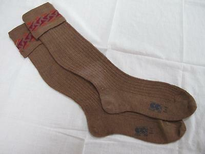 VINTAGE 1940's WW2 ERA CC41 UTILITY MARK BROWN BOY'S SCHOOL EVACUEE SOCKS - 9""