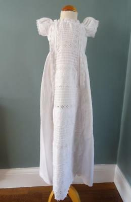 Antique Victorian Baby's Christening Gown Dress - Embroidered Whitework c1890