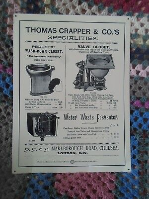 Waste Valve Closet Thomas Crapper repro vintage metal advertising Sign Basin