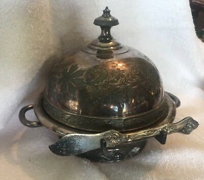 Meriden B. Company Silver Plated Butter Dish Birds Antique Metal Dish Knife