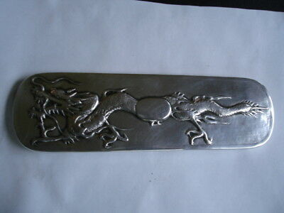 Antique Chinese Export Silver Sterling Brush Handle w High Relief Dragon 73.8 gr