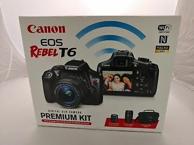 Canon EOS Rebel T6 Premium Kit w/18-55mm & 75-300mm Lens + Camera Bag NEW !!!!